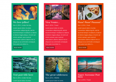 Blog Grid with Categorized Colors (Background or Top Border)